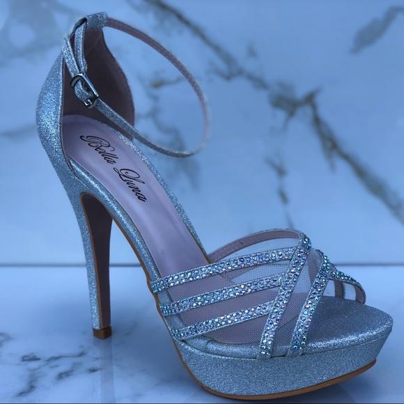 a8de4749d Bridal Glitter Rhinestone Platform Heels
